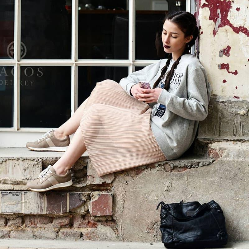 girl wearing european style footwear