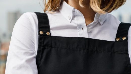 black apron and white shirt for work