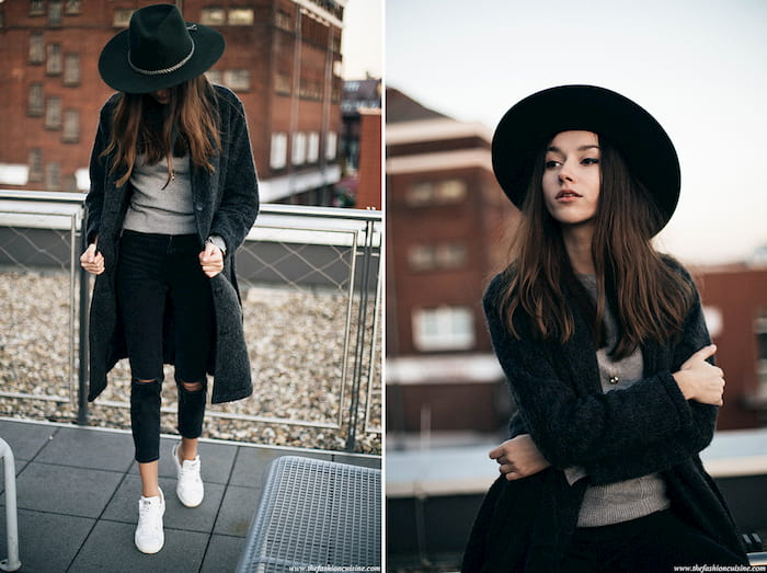 black wide brim hat outfit