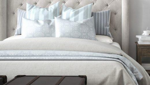 pink designer bed headboard for bedroom