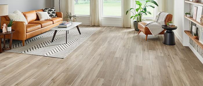 modern living room with vinyl flooring