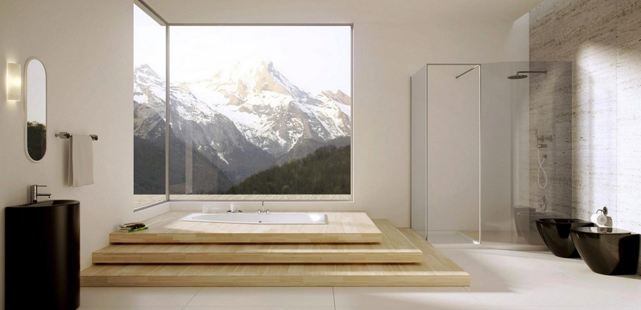 picture of a lux bathroom supplies with a view in the mountains