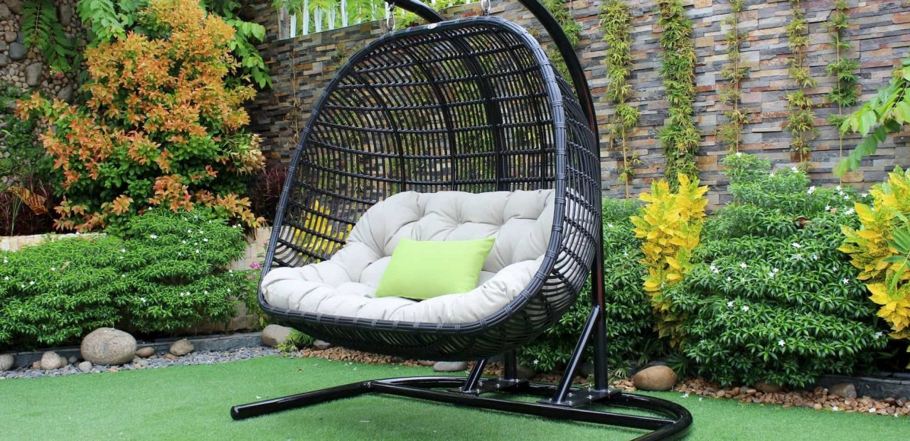 double swing chair with stand