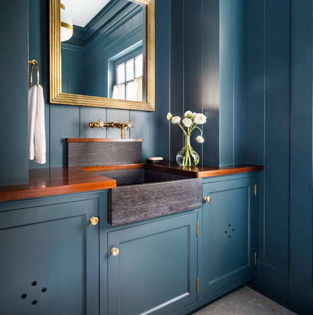 bathroom vanity cabinet blue color