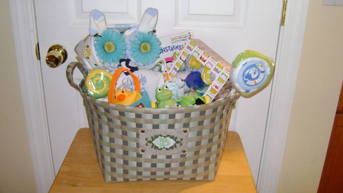 picture of a basket full of useful gifts for toddler
