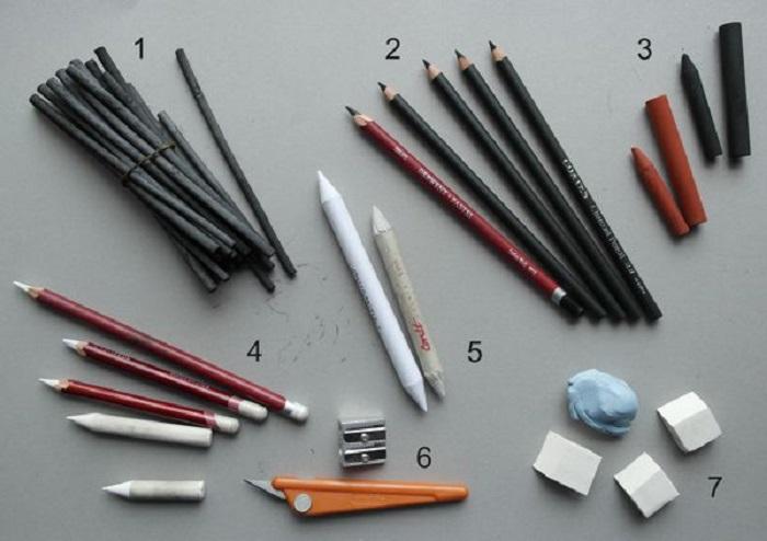 charcoal drawing materials