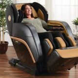 woman relaxing on a massage chair